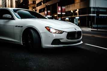 photography of white maserati